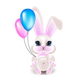 Cute little rabbit with pink ears. 3d vector illustration.