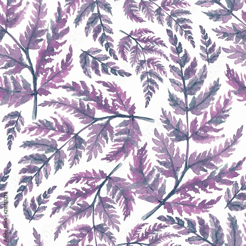 Floral pattern. Seamless background with watercolor leaves - 218513278
