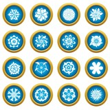 Different flowers icons blue circle set isolated on white for digital marketing - 218514245