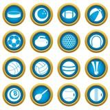 Sport balls icons blue circle set isolated on white for digital marketing