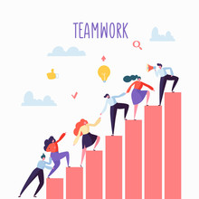 Flat Business People Climbing Up The Stairs Career Ladder  Characters Team Work Partnership Leadership Concept  Illustration Sticker