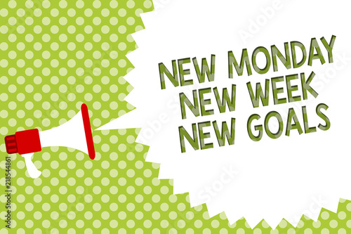 Word writing text New Monday New Week New Goals. Business concept for Be positive every start of the week Megaphone loudspeaker speech bubble message green background halftone.