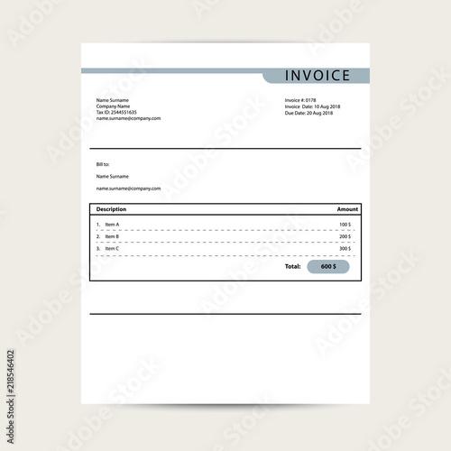 minimal invoice template vector bill finance document sample design