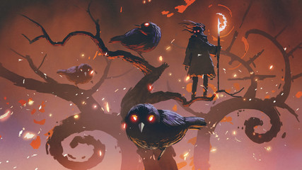 wizard of the black birds standing on an odd trees, digital art style, illustration painting © grandfailure