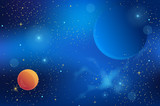 cosmic background with shining stars and planets. vector illustration