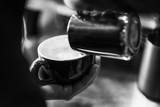 making espresso coffee close up detail with modern machine - 218551620