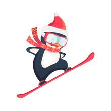 Penguin Snowboarder At Jump Sticker