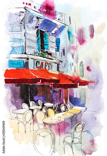 Cafe terrace Old street European restaurant Watercolor illustration. - 218569409