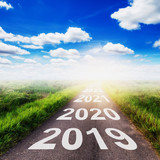 Empty asphalt road and New year 2019 concept. Driving on an empty road to Goals 2019. - 218573245