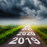 Empty asphalt road and New year 2019 concept. Driving on an empty road to Goals 2019. - 218573261