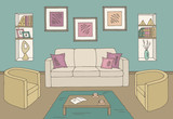 Living room graphic color home interior sketch illustration vector - 218580236