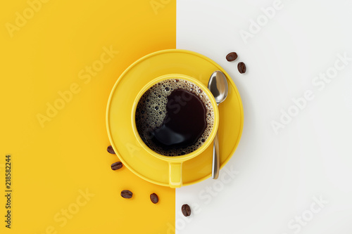 Top view of coffee cup on yellow and white background. © aanbetta