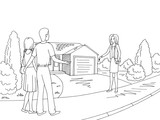 House exterior graphic black white sketch illustration vector. Realtor giving the key to the family - 218585064