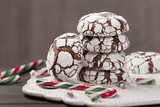 Home Baked Peppermint And Chocolate Crinkle Cookies. - 218595055