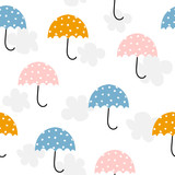 Cute umbrella and clouds seamless pattern. Vector hand drawn illustration. - 218602083