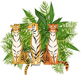 tigers on the background of tropical leaves