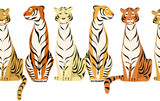 tigers. horizontal seamless pattern