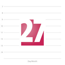 2019 Calendar Day 27 Planner Red  Sticker