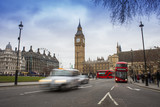 car traffic in London city. Big Ben in background, long exposure photo - 218614697