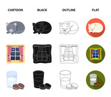 Sleeping cat, night outside the window, milk and biscuits, fairy tales. Rest and sleep set collection icons in cartoon,black,outline,flat style vector symbol stock illustration web.
