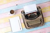 Top view of retro style typewriter in studio - 218629812