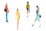 Different types of women top trends in fashion Watercolor illustration Quick sketch drawing. - 218637010