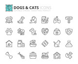 Outline icons about dogs and cats