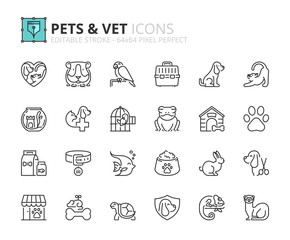 Outline icons about pets and vet