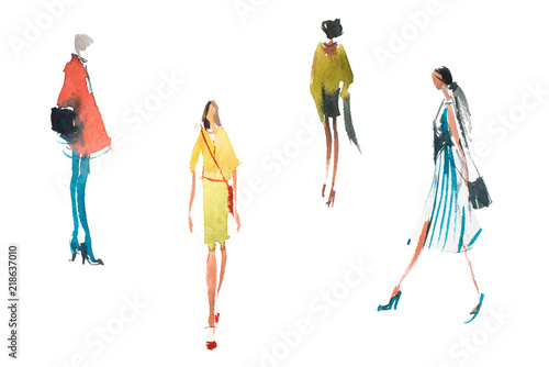 mata magnetyczna Different types of women top trends in fashion Watercolor illustration Quick sketch drawing.