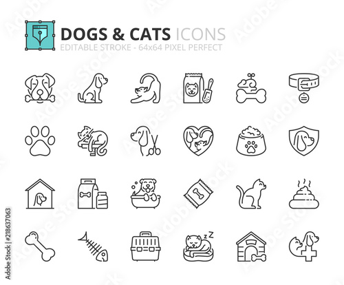 Outline icons about dogs and cats - 218637063