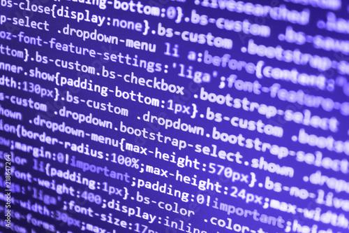 Leinwandbild Motiv Freeware open source project. Innovative startup project. Programming code abstract screen of software developer. PC software creation business. SEO concepts for better SERP.