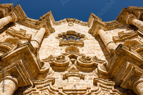 Details of San Cristobal Cathedral from Havana, Cuba. Roman catholic religion is very strong all over Cuba.
