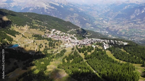Drone footage 4K of mountains landscape in French Alps - Risoul village