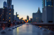 blurred Night lights of the New York with metal part of bridge foreground - 218658235
