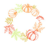 Autumn Background. Wreath with Ink hand drawn maple, chestnut leaves, pumpkin, rowanberry. harvest elements composition. Vector illustration. - 218667673