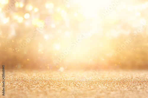 Leinwandbild Motiv glitter vintage lights background. silver and gold. de-focused.