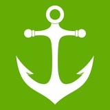 Anchor icon white isolated on green background. Vector illustration