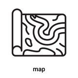 map icon vector isolated on white background, map sign , line or linear symbol and sign design in outline style