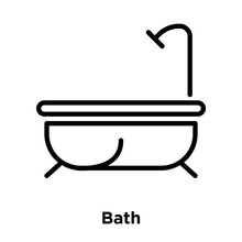Bath Icon     Bath Sign  Line And Outline Elements In Linear Style Sticker