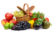 Ripe fresh vegetables and fruits in basket isolated on white - 218685237