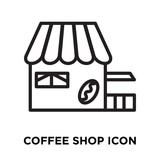 Coffee shop icon vector isolated on white background, Coffee shop sign , linear symbol and stroke design elements in outline style