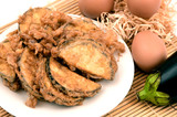 eggplant menu with Crispy Omelet or Fried Solanum melongena with Egg. - 218688070