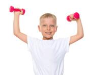 A Little Boy Is Lifting Dumbbells Sticker
