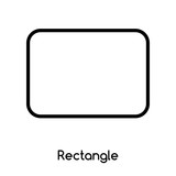 Rectangle icon vector isolated on white background, Rectangle sign , line or linear design elements in outline style - 218698275