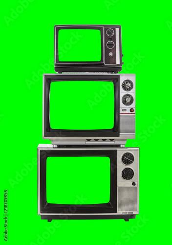 Leinwandbild Motiv Vintage Television Tower with Chroma Green Background and Screen