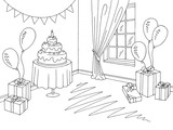 Children party room graphic black white home interior sketch illustration vector - 218719498