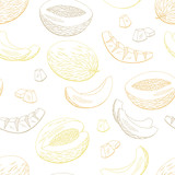Melon fruit graphic color seamless pattern sketch background illustration vector - 218722641
