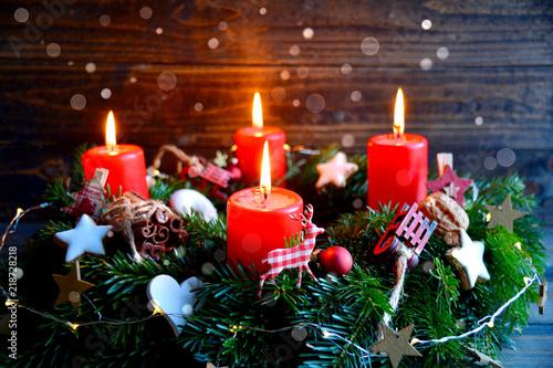 Leinwanddruck Bild Adventskranz - Weihnachtsstimmung - vierter Advent
