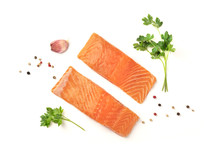 Slices Of Salmon  Parsley Garlic And Pepper    Copy Space Overhead Photo Sticker