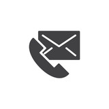 Contact us vector icon. filled flat sign for mobile concept and web design. Telephone handset and envelope letter simple solid icon. Symbol, logo illustration. Pixel perfect vector graphics - 218730416